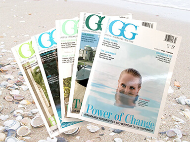 A collection of GG magazines, Resident Experts' own luxury publication.