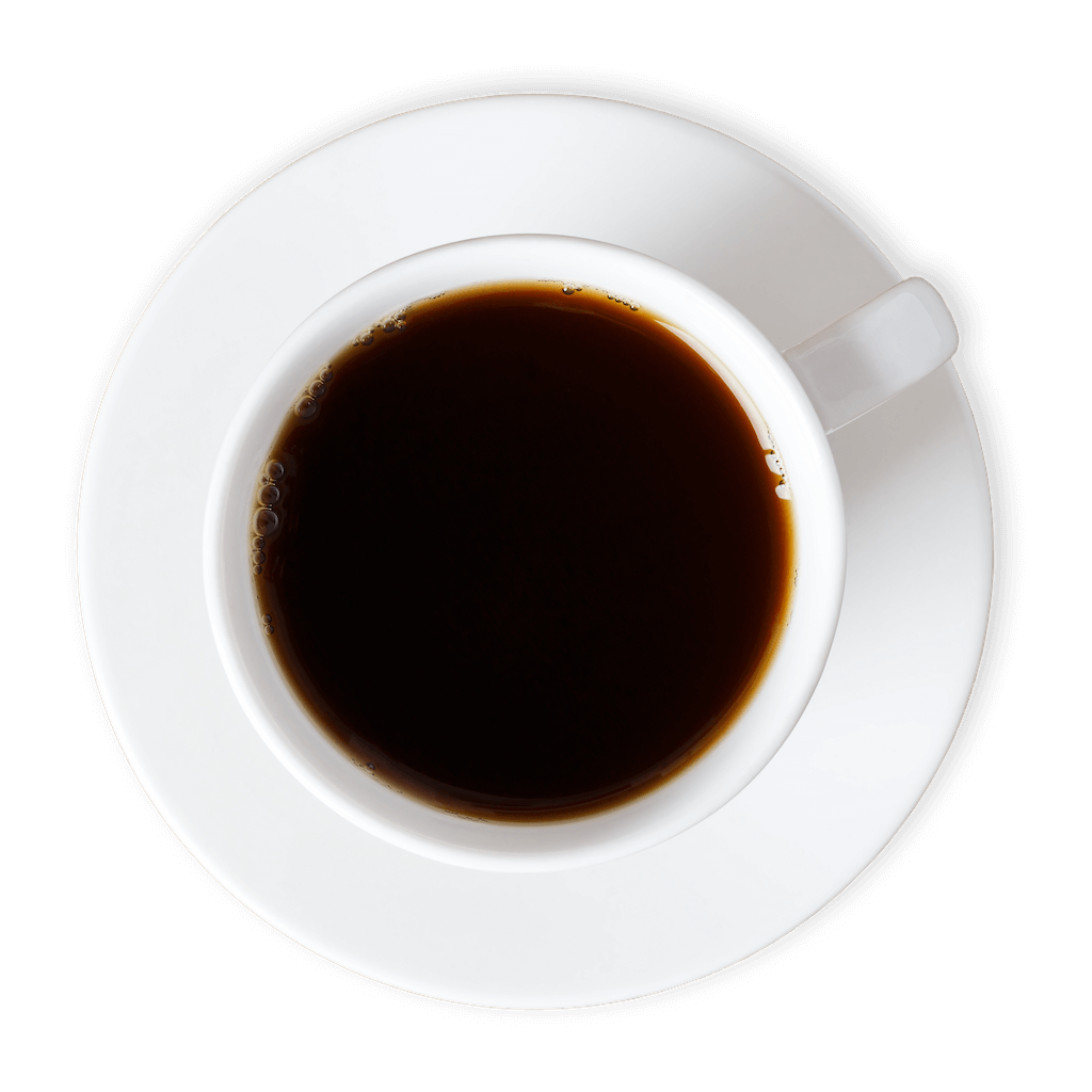 White cup filled with black coffee on a white saucer.