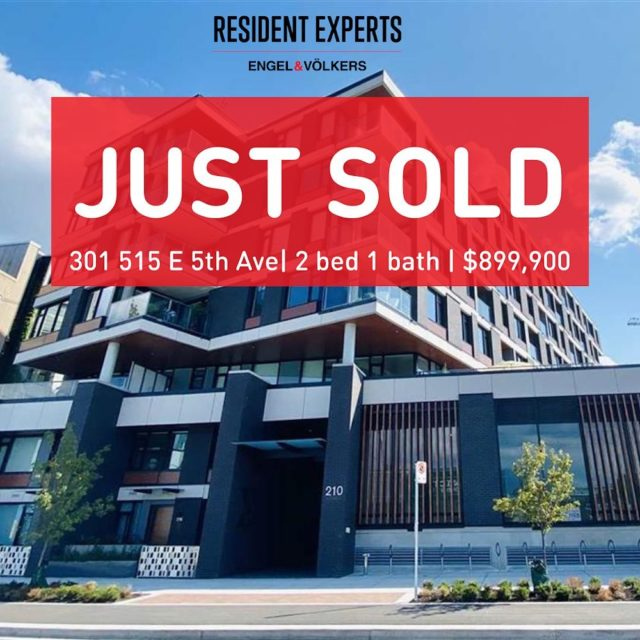 Just sold!  • • A huge congrats on this fantastic purchase at the Elenore! Featuring a spectacular 320 sq.ft patio and offering a sleek modern interior with high end appliances and finishes. Rated among one of the best neighbourhoods to live in Vancouver, there is no better time to call Mt. Pleasant home!  📍 301-210 E 5th Ave 💰 $899,900 🛌 2 beds 🛁 1 bathroom  📏 725 sq.ft