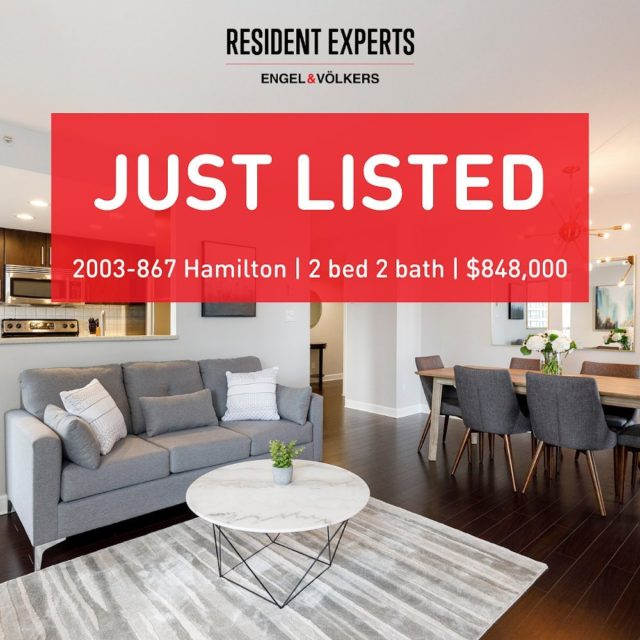 Just listed!  • • Welcome to Jardine's Lookout! Located in one of the most accessible locations, this spacious 2 bed & 2 bath corner unit offers an abundance of natural light. With an exclusive outdoor space, this is one of the few homes in the building with a balcony! The kitchen, living and dining room offer an open layout concept featuring a gas fireplace. Close proximity to the Seawall, Financial District, Robson shops and some of the most notable restaurants in Yaletown. Don't miss the opportunity to own in one of the most central locations in Downtown Vancouver!  📍 2003-867 Hamilton  💰 $848,000 🛌 2 bed  🛁 2 bath 📏 1068 sq.ft