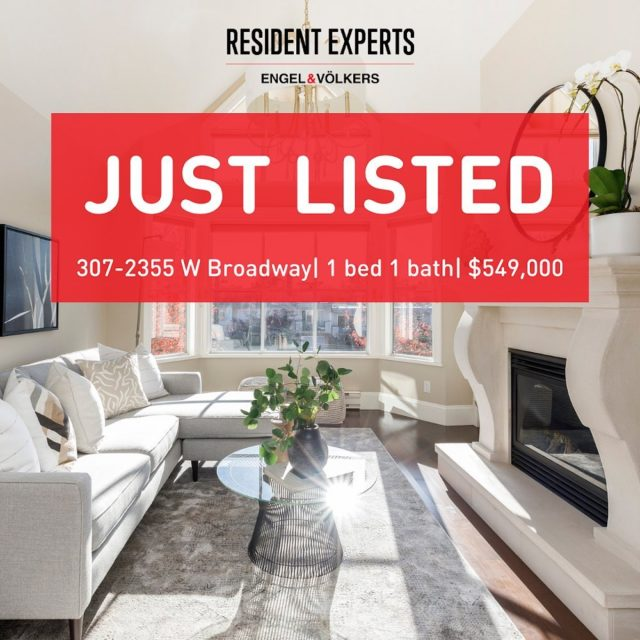 "Just listed!  • •  Welcome to the beautiful Connaught Park Place- a boutique building with only 20 homes located in one of the most central and accessible locations in Kits! This top floor bright and spacious south facing unit features stunning 13 ft high vaulted ceilings in the living room offering an abundance of natural light, crown moldings and a beautifully framed gas fireplace. Excellent functional layout with an outdoor south facing patio to enjoy both evening and morning sun exposure from the comfort for your home. Please DM us if you'd like to book a private appointment.""   📍 307-2355 W Broadway 💰  $549,000 🛌  1 bed  🛁  1 bath 📏  675 sq.ft"