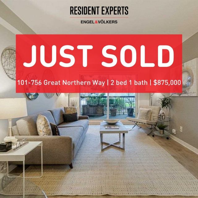 Just sold! • •  The importance of staying on top of the marketis crucial right now and was a big reason for our clients' successful purchase of this beautifullyrenovated condo. Not only do they move up in the market but they also get to stay in the same building and community. Big congrats to our clients on their new home!  📍101-756 Great Northern Way  💰$599,000 🛌2 bed 🛁1 bath 📏875 sq.ft.
