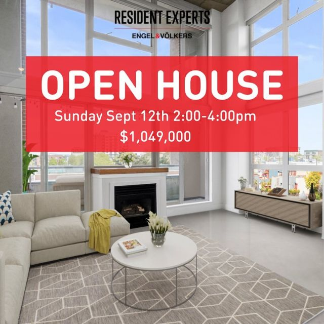 """Open House!  • •  Have you been described as """"EDGY & love the diversity of city life? Come live at THE EDGE! Located w/in RAILTOWN, this building is known for its 7000 sq.ft of INCREDIBLE AMENITIES: Wood & Metal Shops, Pottery & Recording Studios, Printing Press, Dark Room & Fitness centre! Enjoy open concept living with SOARING 16ft CEILINGS & private PATIO. 1 bed & 2 bath w/ designated OFFICE SPACE & tons of built in STORAGE. Truly appreciate the FLOOR TO CEILING WINDOWS in this CORNER unit giving an abundance of natural light & showcasing the Mountains & Port VIEWS! Enjoy a true LOFT EXPERIENCE with the industrial modern design, updated kitchen & bathrooms, GAS stove & Fireplace, & sleek interior newly refinished CONCRETE floors. A thriving scene for CREATIVE PROFESSIONALS & iconic Vancouver restaurants!  🏠 Open House:Sunday Sept 12th 2:00-4:00pm 💰 $1,049,000"""
