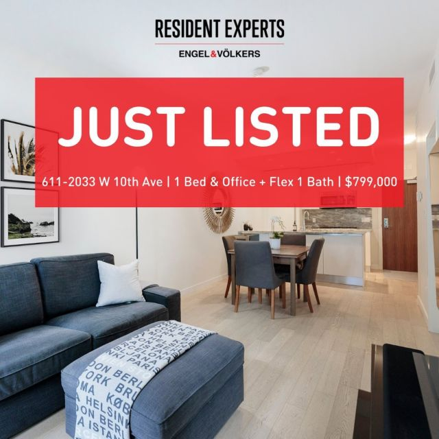 JustListed!  Nestled in the heart of Kits, this bright & functional South facing 1 bed & office + flex is a rare find!Comprised of671 sq.ft. the interior boasts expansive floor to ceiling windows for optimal natural light, with over height ceilings. Designed to the highest of standards including engineered light hardwood flooring, polished marble countertops, Bosch appliances, gas stove,Italian cabinets and much more! Stay the perfect temperature year-round with your own A/C included in your home.  Enjoy upscale building amenities consisting of a Fitness Centre, Clubhouse Lounge, Children's Play Area &Garden Patio outfitted with a communal BBQ. Just steps to the Arbutus Greenway, close proximity to the future Broadway Line Station and transit to UBC & Downtown, there is truly no better access throughout the City.  Built in 2017 and still under the remaining2-5-10 year New Home Warranty. You don't want to miss the opportunity to own this home!   📍611-2033 W 10thAve💰$799,000🛌 1 bed & Office + Flex🛁1 bath 🚗 1 parking 🐶🐱2 pets allowed 🏡 Rentals allowed 📏 671 sq.ft.
