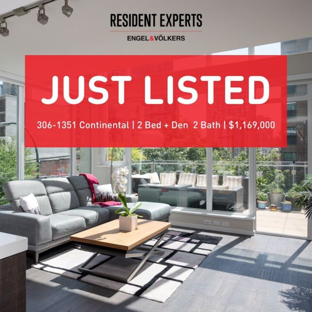 Just Listed! • •  Yaletown luxury loft living at its finest!Welcome to The Maddox, builtby reputable Cressey Developments. Enjoy open concept, loft-style living in this bright and spacious 2 bed + den & 2 bath corner unit home with expansive,17-foot ceilings in the living / dining area.You will truly appreciate the double height, floor to ceiling windows giving an abundance of natural light in the home.  Entertain both friends and family in yourspaciousliving/dining area and walk-out, sun-drenched patio. The patio provides plenty of space for all your outdoor furniture and has a designated BBQ area!All those windows are a true luxury, but an even greater luxury is the AC which provides endless comfort year-round.  The Maddox is an impeccably maintained building which includes 24-hour concierge, fitness centre & sauna, business room, rooftop amenity room and children's playground. Walk to all the best shops and restaurants Yaletown has to offer including Miname, Elisa Steakhouse, Bluewater, Cactus Club and many more. Enjoy the convenience of living just blocks to the Seawall! Comes with 1 parking, 1 storageand in suite laundry. Don't miss the opportunity to own one of these rare loft-style homes in the iconic neighbourhood of Yaletown.  📍306-1351 Continental St. 💰$1,169,000 🛌2 Bed 🛁2 Bath 📏996 sq.ft.+ 180 sq.ft. Patio