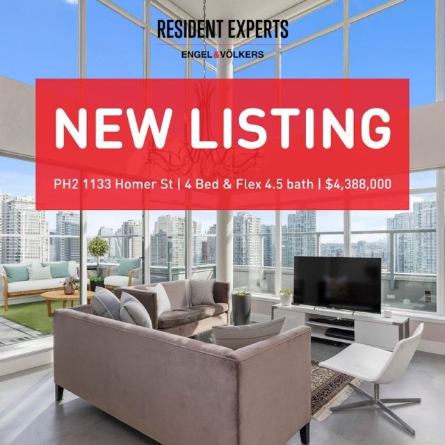 New Listing!  • •  Dreaming of a house, but in Yaletown? This rarely available 2800 sq.ft. 2 level penthouse includes 4 beds + flex & 4.5 baths. Soaring 17ft ceilings offer an abundance of light & breathtaking views to the South, West & East.  Expansive floor plan allows comfortable entertaining, with central chef's kitchen open to the living & dining on either side. 2 large private patios w/ stunning exposures in heart of Yaletown effortlessly integrate indoor & outdoor living at either end of the home. Open the patio doors for cross breeze or use A/C to keep your space just the way you like it. Tasteful renovations include automatic blinds, built in Sonos speaker system, sleek concrete floors and more! Heritage meets modern in this highly desirable neighbourhood. Comes with 2 parking & 1 storage locker.  📍PH2-1133 Homer St 💰$4,388,000 🛌4 bed + Flex 🛁4.5 Bath 📏2800 sq.ft.