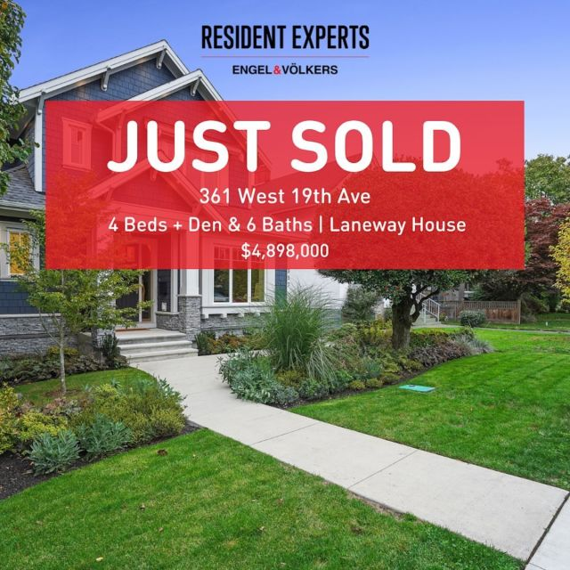 Just sold! • •  We are not surprised that this stunning home only lasted a few hours on the market before being snatched up! Thanks to Jennifer West @macdonaldrealtybc who acted quickly and knew she had the right buyers the moment it came on the market. They had been in love withthis home since it was originally built and it just took the right timing to bring it all together. Nothing is more satisfying than having happySellers, happyBuyers and happy Realtors 😉  📍361 West 19th Ave  💰$4,898,000 🛌4 Bed + Den 🛁6 Bath 📏3843 sq.ft. 🏡 1-Bedroom Laneway House
