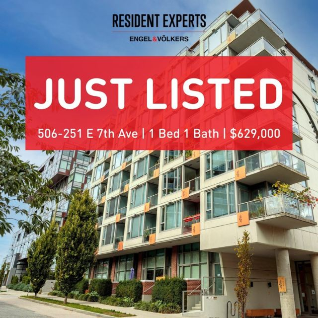 Just listed! • •  Welcome to the District South Main, in the highly desirable neighbourhood of Mount Pleasant! This efficient and well laid out 1 bed & 1 bath 545 sq.ft home includes in-suite laundry, SS appliances, hardwood floors & more.  The building is equipped with all the desired amenities including a generous-sized gym, artist workshop and common courtyard, the complex also has arguably two of the best rooftops in the city. Enjoy the rooftop patios equipped with plenty of lounge & dining seating, BBQ's firepits and designated communal gardens. The perfect place to entertain friends & family over a quiet dinner paired with a glass of wine while taking in the breathtaking city views!  The District South Main is perhaps in one of the best urban locations to reside, with endless cafes, breweries, shops and restaurants, just steps from your front door. The newly announced and highly anticipated Main Street SkyTrain station will also be located nearby. Don't miss out on the opportunity to join this amazing community.  📍506-251 E 7th Ave 💰$629,000 🛌1 Bed 🛁1 Bath 📏545 sq.ft. 🚗1 Parking 🔒1 Storage Locker 🐶Pets Allowed w/Restrictions 🏠Rentals Allowed